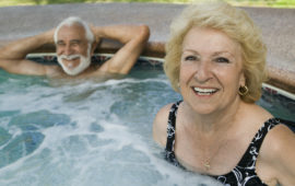 Seniors in hot tub