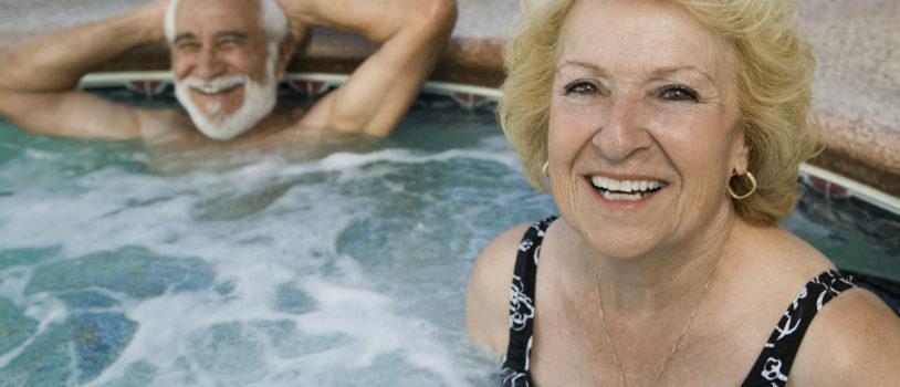 Seniors in hot tub